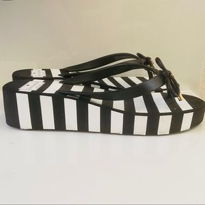 Kate Spade Black & White Platform Flip Flops